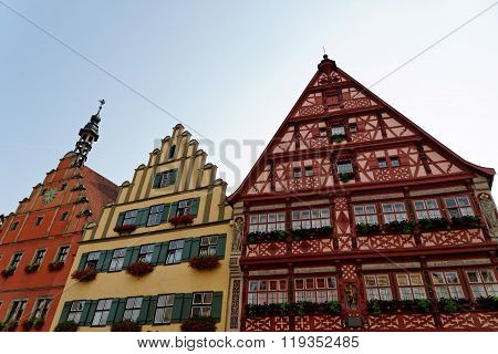 Wine market street The magnificent gabled buildings on Wine market street in Dinkelsbuhl germany. Dinkelsbuhl is old Franconian town one of the best-preserved medieval urban complexes in Germany.