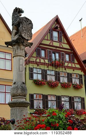 Dinkelsbuhl in Bavaria Germany. Dinkelsbuhl is old Franconian town one of the best-preserved medieval urban complexes in Germany.