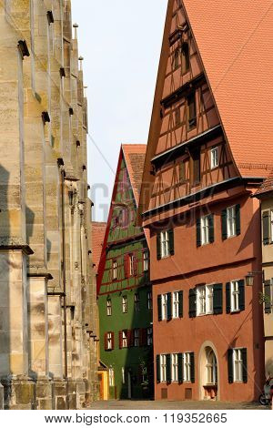 Traditional architeture of Dinkelsbuhl Bavaria Germany. Dinkelsbuhl is old Franconian town one of the best-preserved medieval urban complexes in Germany.