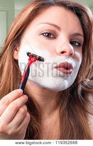 girl shaves