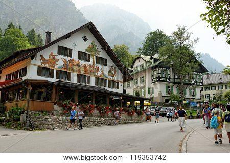 SCHWANGAU GERMANY - AUGUST 11 2015: The beautiful architecture of Hohenschwangau village Germany.