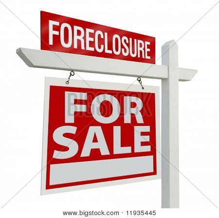 Foreclosure Home For Sale Real Estate Sign Isolated on a White Background.