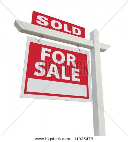 Sold For Sale Real Estate Sign Isolated on a White Background.