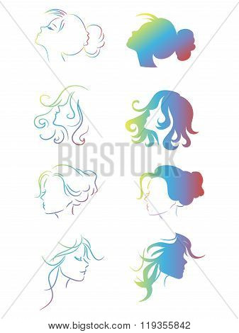 Free Uninhibited Girls Silhouette Heads Satisfied With Their Appearance And Easy Hairstyles. Lovely