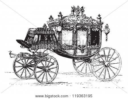 Gala carriages, vintage engraved illustration. Dictionary of words and things - Larive and Fleury - 1895.
