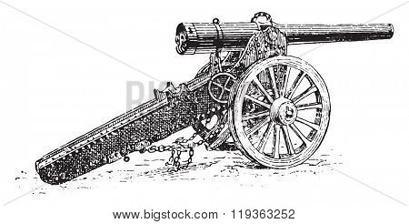Siege Cannon, vintage engraved illustration. Dictionary of words and things - Larive and Fleury - 1895.