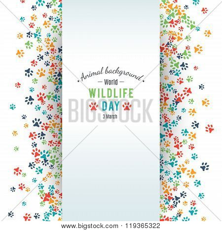 Abstract banner promotion of world wild life day