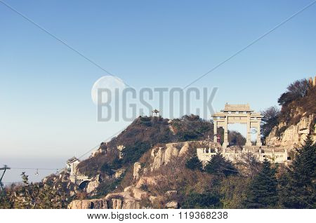 Moon Over Tai Shan (mount Tai)