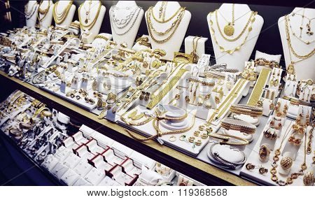 Jewelry market display, toned image