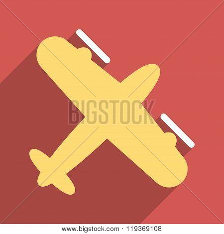 Screw Aeroplane Flat Longshadow Square Icon