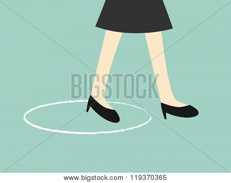 Business concept, business woman is walking across the circle. Vector illustration.