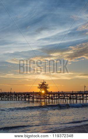 Sunset Shining Through San Clemente Pier