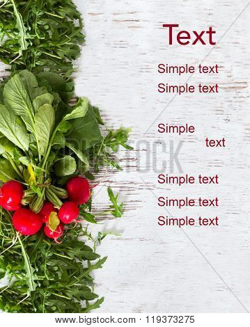 Eruca Sativa, Rucola, And Redishes, Fresh Green Salad Leaves Copyspace Background  Isolated Over The