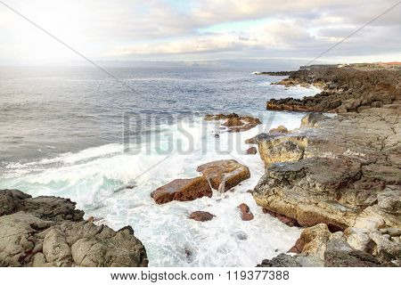 Rocks and ocean waves in Azores, Portugal