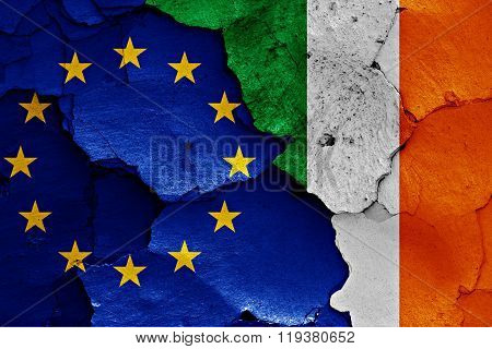 Flags Of Eu And Ireland Painted On Cracked Wall