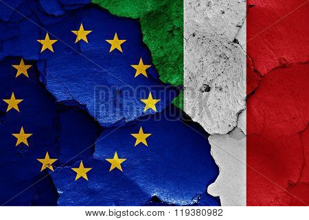 Flags Of Eu And Italy Painted On Cracked Wall