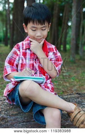 Kid Happy And Smiling On Wooden Log In National Park. Outdoors. Education Concept.