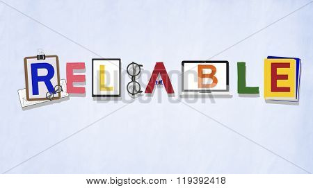 Reliable Trustworthy Dependable Responsible Respectable Concept poster