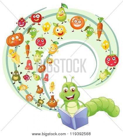 Worm reading book of fruits illustration