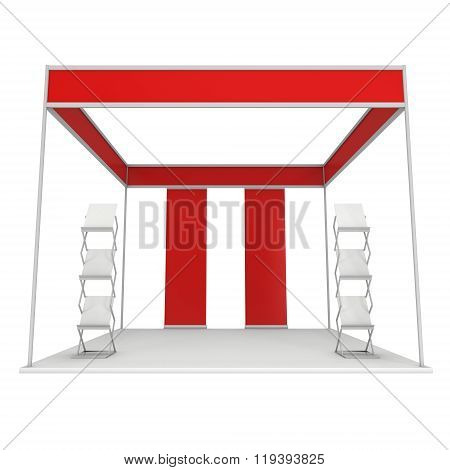 Expo Trade Show Booth Red and Blank with Magazine Rack and Roll Up Stand. Blank Indoor Exhibition with Work Paths for Expo. 3d render isolated on white background. High Resolution Template for your expo design. poster
