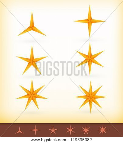 Collection of vector golden stars with 3, 4, 5, 6, 7 and 8 pointed edges