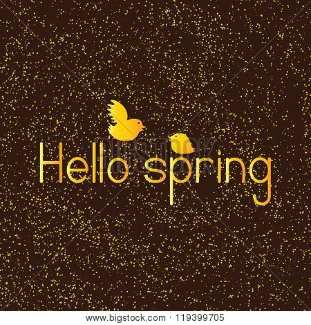Golden Colored Lettering Hello Spring