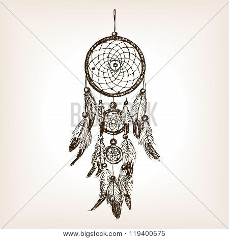 Dreamcatcher sketch style vector illustration. Old engraving imitation. Dreamcatcher amulet hand drawn sketch imitation
