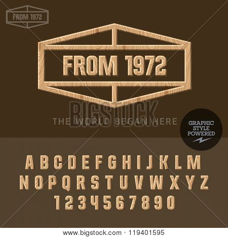 Wooden sign with tagline for yacht and traveler club. Vector set of letters and  numbers tagline