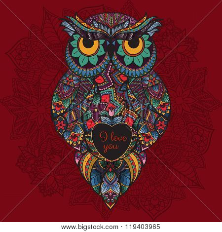 illustration of ornamental owl. Bird illustrated in tribal. Boho owl with love. Heart for Valentine