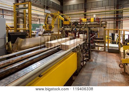 Brickworks. Image of conveyor in production hall
