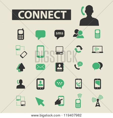 connect icons, connect logo, connect vector, connect flat illustration concept, connect infographics, connect symbols,
