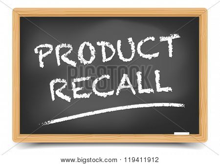 detailed illustration of a blackboard with Product Recall, eps10 vector, gradient mesh included