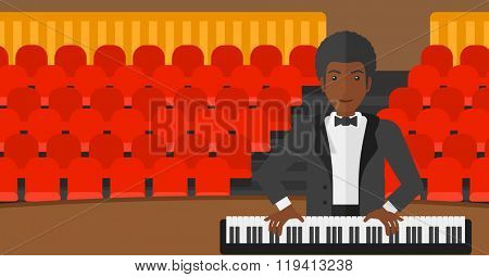 Man playing piano.