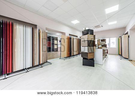 Interior design of showroom for chipboard panels