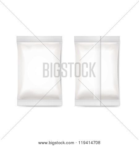 White blank foil packaging sachet   Vector