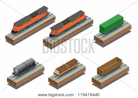 Diesel Locomotive, Rail covered wagon, Open rail car for transportation of bulk cargoes. Vector flat