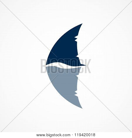 Shark Fin Logo Sign On White Background