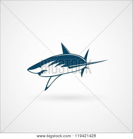 Shark Attack Logo Sign On White Background Vector Illustration