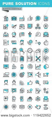 Modern thin line flat design icons set of business communication and technology
