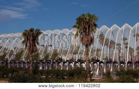 VALENCIA, SPAIN -  NOV 3 2015 : The City of Arts & Sciences Umbracle dominates Ciutadella Park.