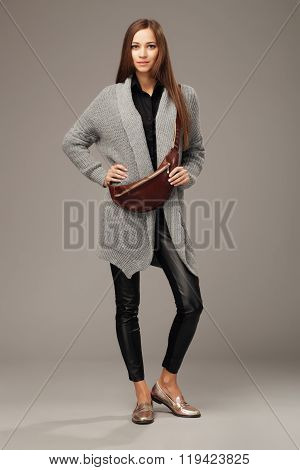 Beautiful Woman With A Leather Fanny Pack