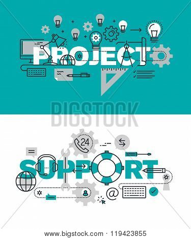 Set of modern vector illustration concepts of words project and support