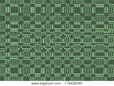 Green Textured Shapes Pattern