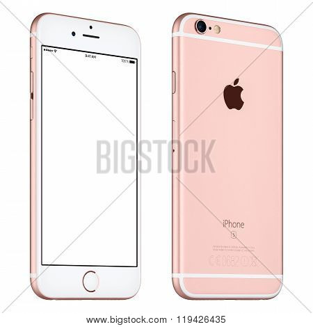 Rose Gold Apple Iphone 6S Mockup Slightly Rotated Front View With White Screen And Back Side
