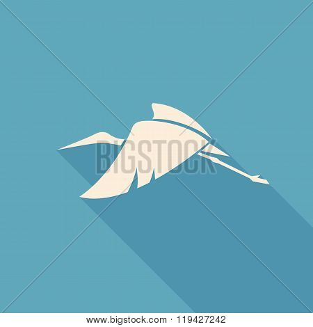 Flying Stork Sign Logo Emblem On A Blue Background Vector Illustration