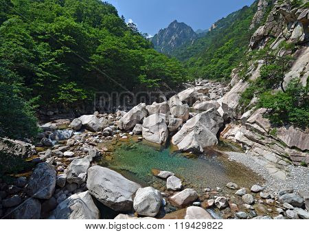 Forest River In Seoraksan, Korea
