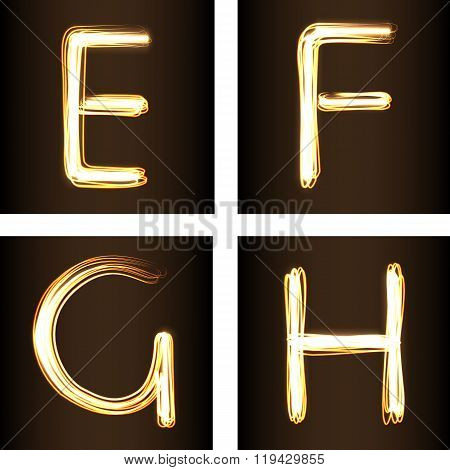 Fire show Style Set Of Letters E, F, G, And H,