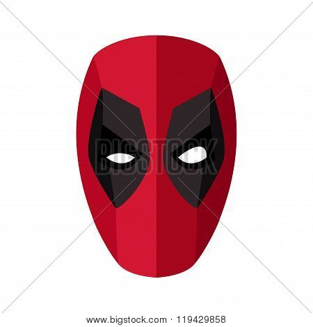 Super Hero Red Mask For Face Character. Superhero Mask Icon In Flat Style. Red Mask With Black Eyed.