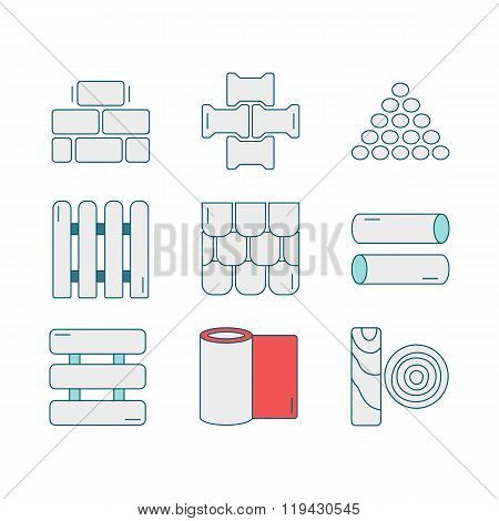 Set of line icons for DIY, construction, building materials. Pictograms for DIY shop, construction and building materials. Vector illustration. poster