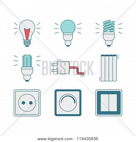 Vector line style icons of electricity tools elements